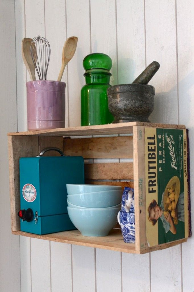 Nesting- wooden crates as shelves