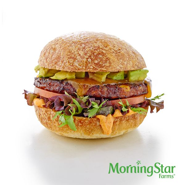 The Southwest Burger – made with 110-calorie MorningStar Farms® Spicy Black Bean Burgers.