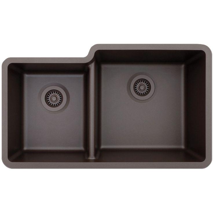 Lexicon Platinum Offset Double Bowl Quartz Composite 32 x 19 x 7-1/2 / 9 in. D Kitchen Sink (White)