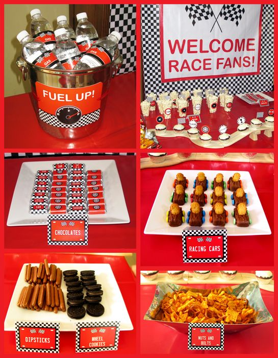 "Race Cars Birthday Party Food Table. I like the drinks in a bucket and the ""nuts and bolts"" mix"