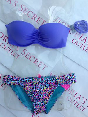 New Sexy Victoria's Secret Madi Bandeau Bikini Set Mix and Match Confetti