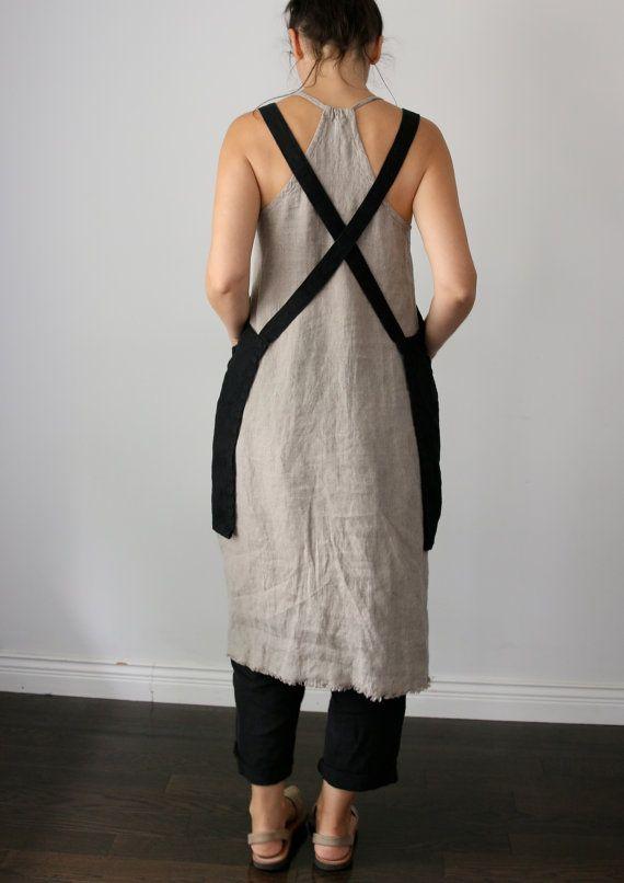 Linen criss-cross apron/pinafore/no-ties apron/Japanese apron