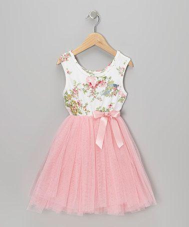 Pink Floral Tulle A-Line Dress - Infant, Toddler & Girls by Designer Kidz on…