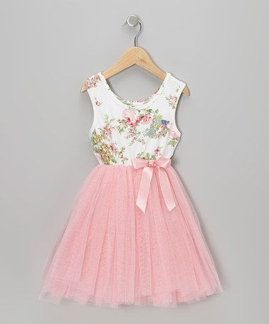 Pink Floral Tulle A-Line Dress - Infant, Toddler & Girls by Designer Kidz on #zulily