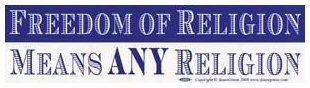 Bumper Sticker - Freedom of Religion Means Any Religion | The Magickal Cat Online Pagan/Wiccan Shop