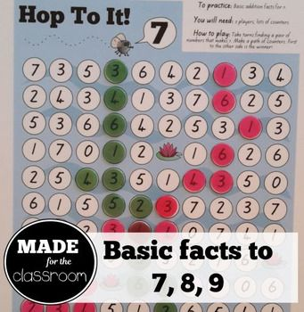 Print this board game A3 sized for some cute, fun addition facts practice.This file contains 3 different boards - practice for making 7, 8 and 9.*****************************************************************************Earn TPT credits by providing feedback on my productsTpT awards buyers with credits for purchasing.