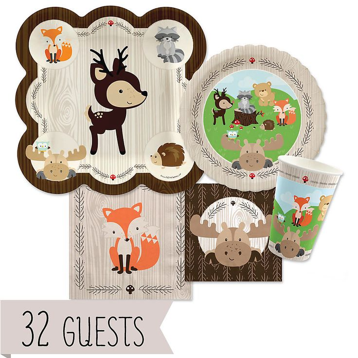 Woodland Creatures - Baby Shower Tableware Bundle for 32 Guests - BabyShowerStuff.com