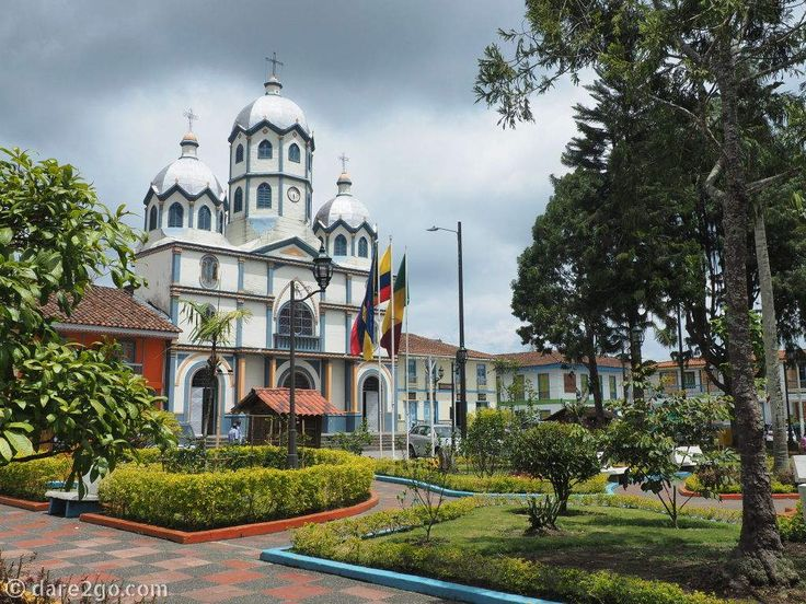 Filandia: this beautiful town plaza is accented by its lovely church.