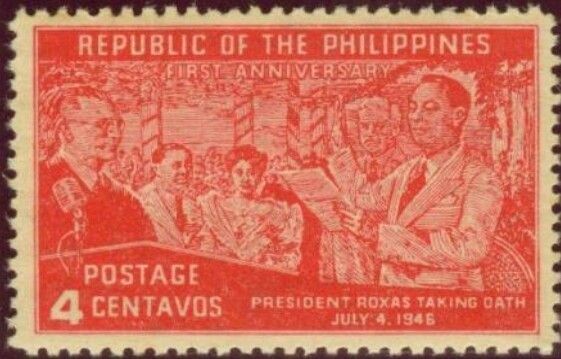 1947, JUL 4: Republic Independence - First Anniversary Featuring President Manuel Roxas, Oath Taking 4 Centavo - Singles, Sheets of 25