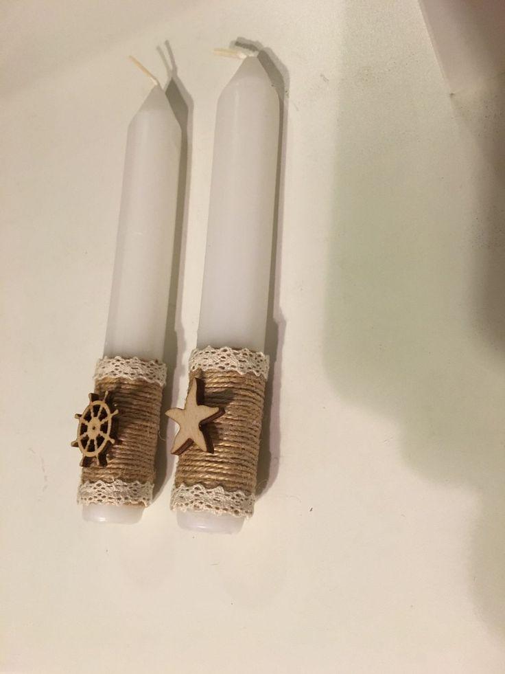 Купить Свадебные свечи для украшения в стиле рустик, морском стиле - свеча, свечи на свадьбу, очаг