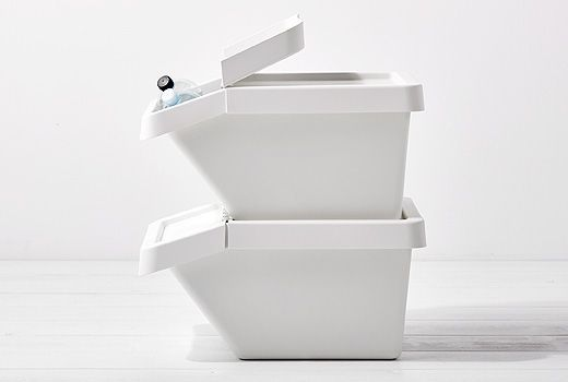 """SORTERA is the Swedish word for """"sorting"""" and also the name of a white bin designed to help you sort and store your waste. Made of robust plastic, it is suitable for glass, metal, newspapers, etc. It is stackable and its folding lid lets you easily peek inside."""