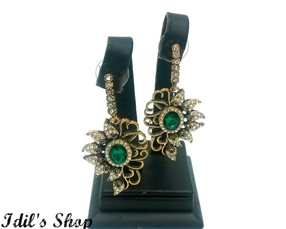 Turkish Ottoman Style Earrings Made Of Bronze Gift by IdilsShop