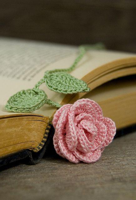Beautiful crocheted rose bookmark :-)