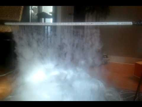 pinner said: home made fog curtain - YouTube  In the bucket is tubing from a pool vacuum. I think it was a little too thick though. Any type of flexible tubing would work and the thinner the better, that way it will cool down the fog more and help it to fall better when it leaves the drilled pipe.