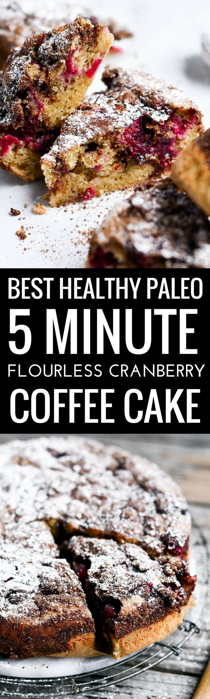 Best Healthy Paleo 5 Minute Flourless Cranberry Coffee Cake