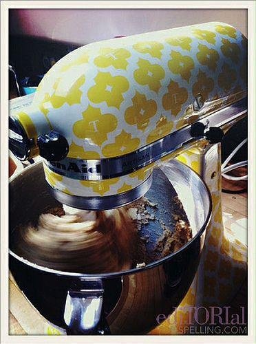 Tori Spelling's custom-made canary yellow monogrammed mixer