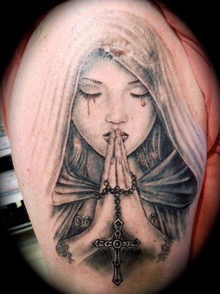 Madonna Praying Hands Religious Tattoo by Tattoo Helbeck