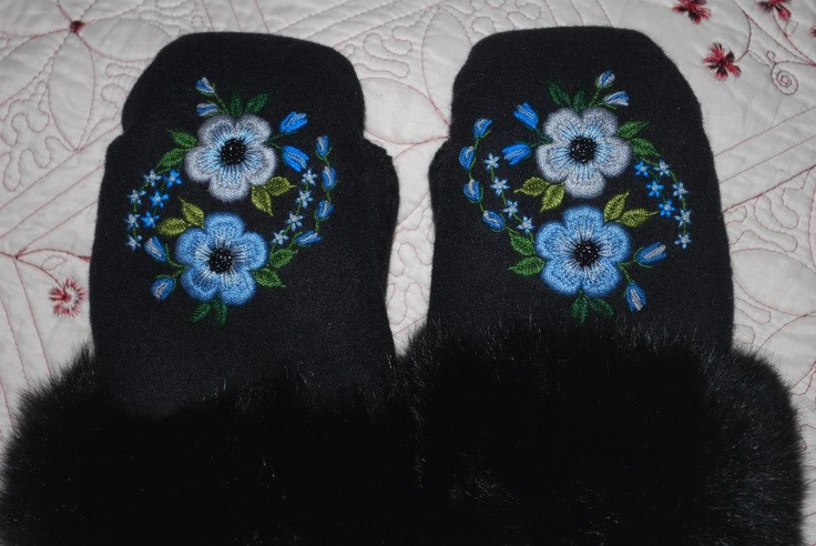 Embroidered mitts w/ fur trim by Catherine Walsh