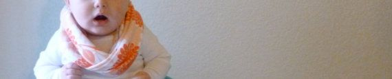Baby Infinity Scarf  Sherbert Orange Mums by alittlelemondrop, $9.00