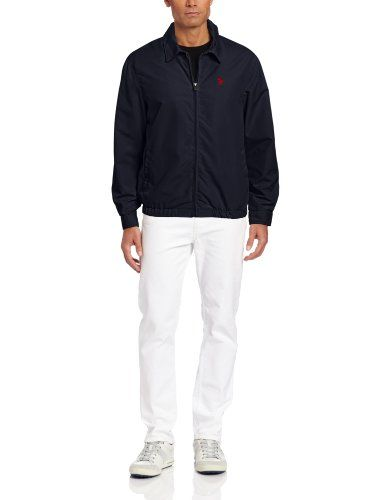 U.S. Polo Assn. Men's Micro Golf Jacket, Classic Navy, Small - Small pony embroidered on left chest Product Features  Two front slit pockets Full zip jacket with contrast lining