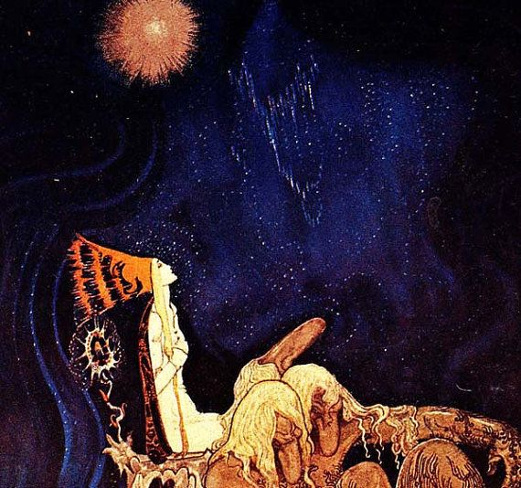 Princess & Troll Kay Nielsen East Of The Sun, West Of The Moon Grimm's Fairytale Vintage Children's Nursery Lithograph Illustration