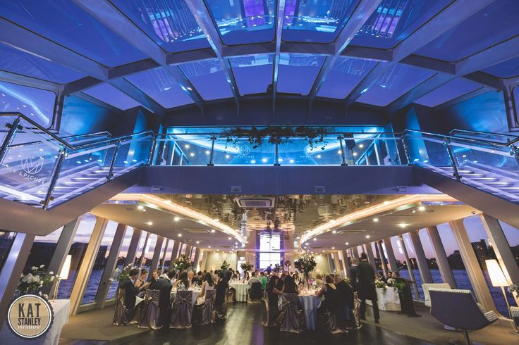 What an amazing wedding set up - the beautiful night sky through the atrium on board MV EPICURE I   Photography by Kat Stanley Photography