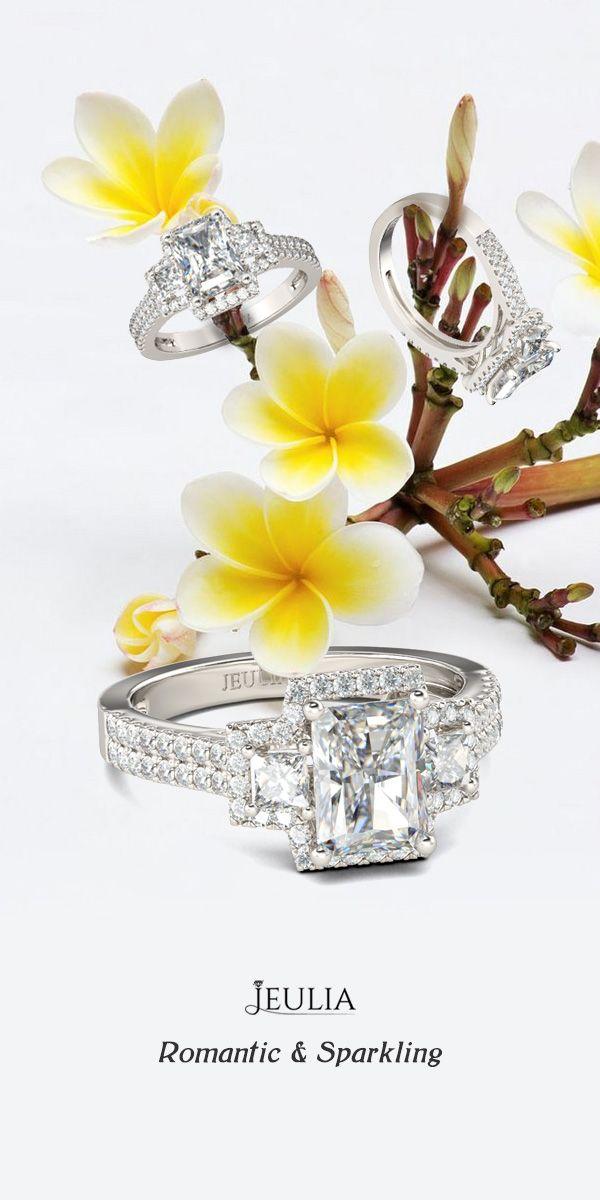 Jeulia Three Stone Halo Radiant Cut Created White Sapphire Engagement Ring #Jeulia