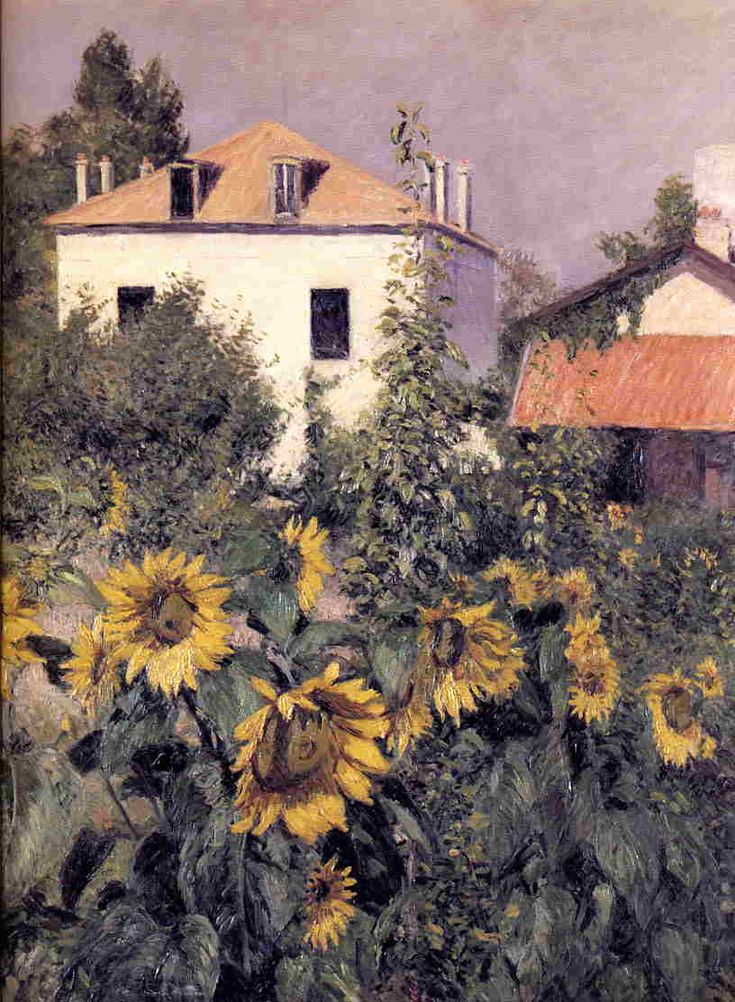 Gustave Caillebotte (1848-1894) Sunflowers in the Garden at Petit Gennevilliers c1885