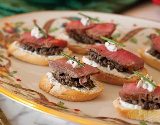 Present bites of flavorful tenderloin atop crunchy crostini for a tea-appropriate version of traditional beef Wellington.