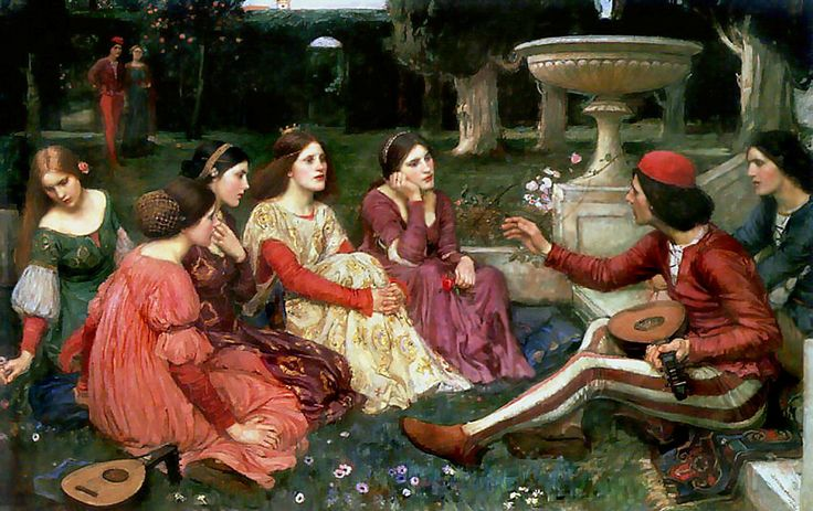 "John William Waterhouse, ""Un Cuento del Decamerón"". 1915. Waterhouse decameron - The Decameron - Wikipedia, the free encyclopedia"