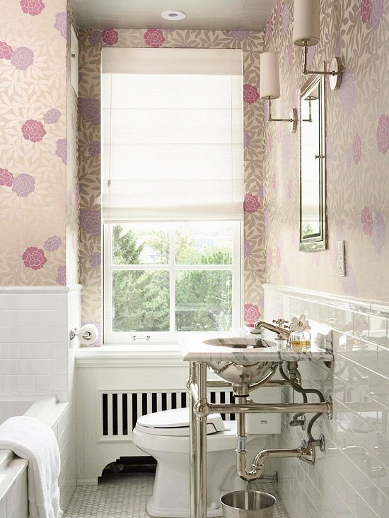 Love this wallpaper!  and the vanity