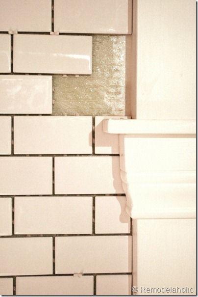 How to install white subway tile backsplash.