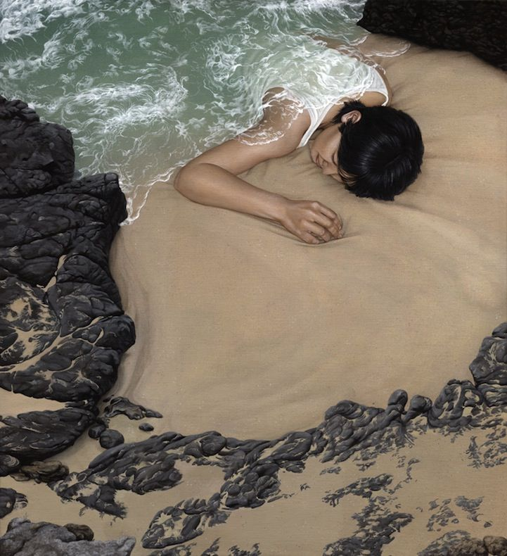 """Surreal Landscape Paintings Shows People Literally Immersed In Nature -----------Drawing inspiration from Miyazaki's """"Spirited Away"""" and Scandinavian landscapes, Berlin-based artist Moki camouflages human figures in the vast landscapes of her paintings.  Moki was born 1982 in Brilon, Germany"""