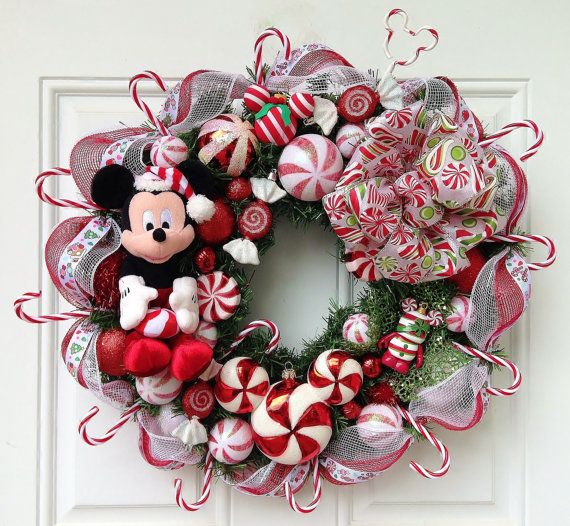 Peppermint Mickey Mouse Christmas Wreath by SparkleForYourCastle, $149.00