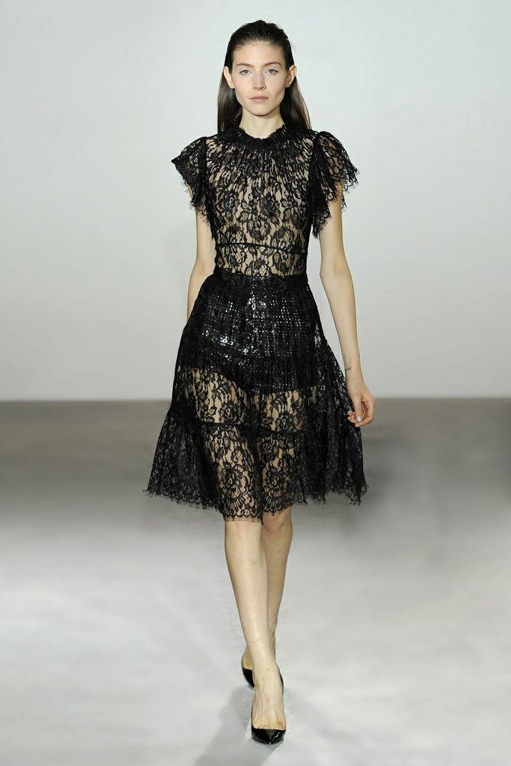 Collette Dinnigan French Noir Lace Short Sleeve Dress