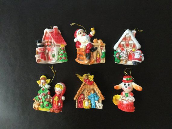 Vintage Rubber Christmas Ornaments Made In Japan Set Of 6 How To Make Ornaments Christmas Ornaments Retro Christmas