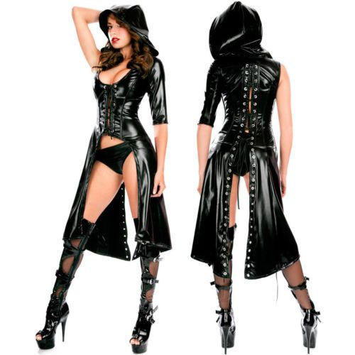 Womens Gothic Fashion Black PVC Faux Leather Bustiers Costume Club Wear NA514 One Size
