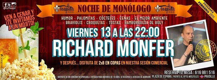 viernes 13 febrero noche de monologo en la tasquita mostoles, cenas y humor en mostoles, copas en mostoles, ocio viernes mostoles