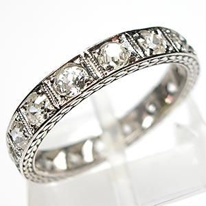 Art Deco Antique Old Miner Cut Diamond Eternity Band Ring Solid Platinum