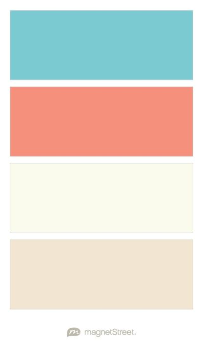 Turquoise, Coral, Ivory, and Champagne Wedding Color Palette - custom color palette created at MagnetStreet.com