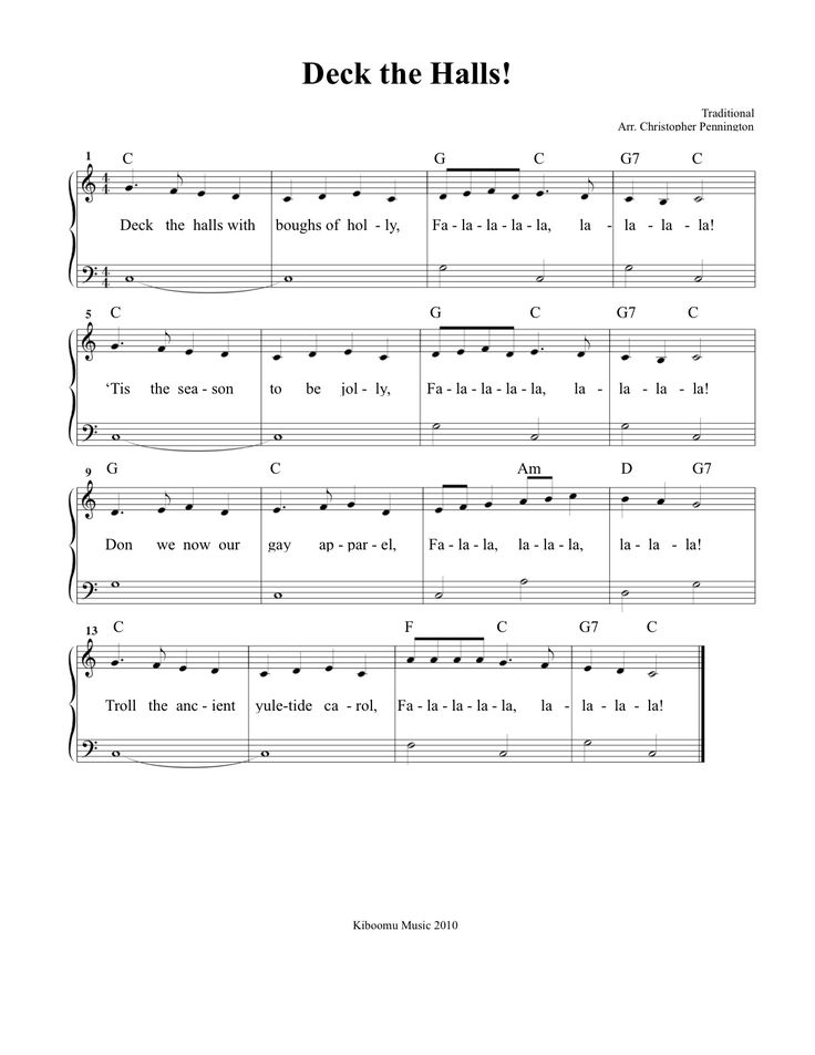 Deck The Halls Sheet Music and Song for Christmas!