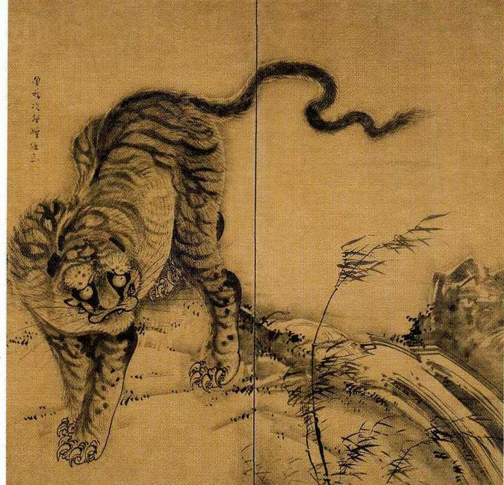 曾我蕭白「獅子虎図屏風」Soga Shohaku