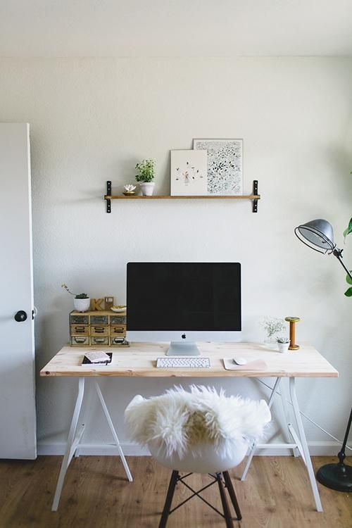 Simple Desk Space. Sheepskins are fabulous for making a plain chair look more luxurious