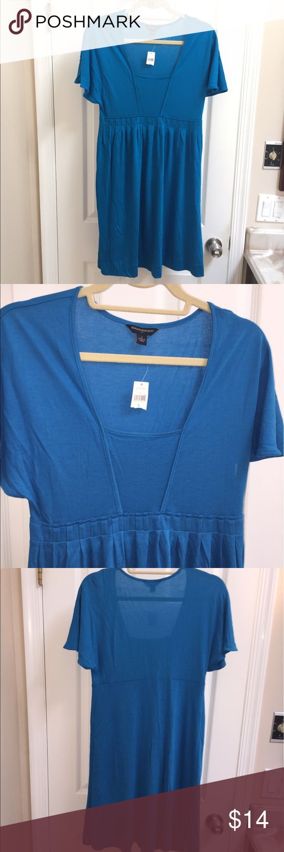 NWT Banana Republic dress New with tags, Banana Republics dress size small. In my opinion this dress runs a little big. Lightweight and somewhat sheer so may be best worn as a swimsuit coverup. 70% rayon, 30% lycocell. I had difficulty capturing the color and I feel it is a little bit more turquoise in person. Please feel free to ask any questions. Thanks for looking. Banana Republic Dresses