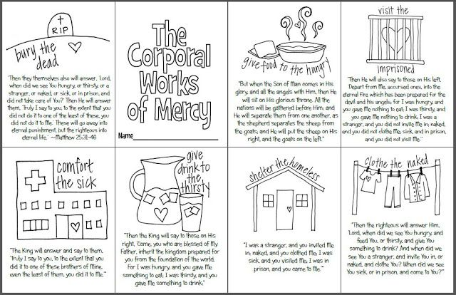 the corporal works of mercy mini coloring book free printable for catholic kids including the. Black Bedroom Furniture Sets. Home Design Ideas