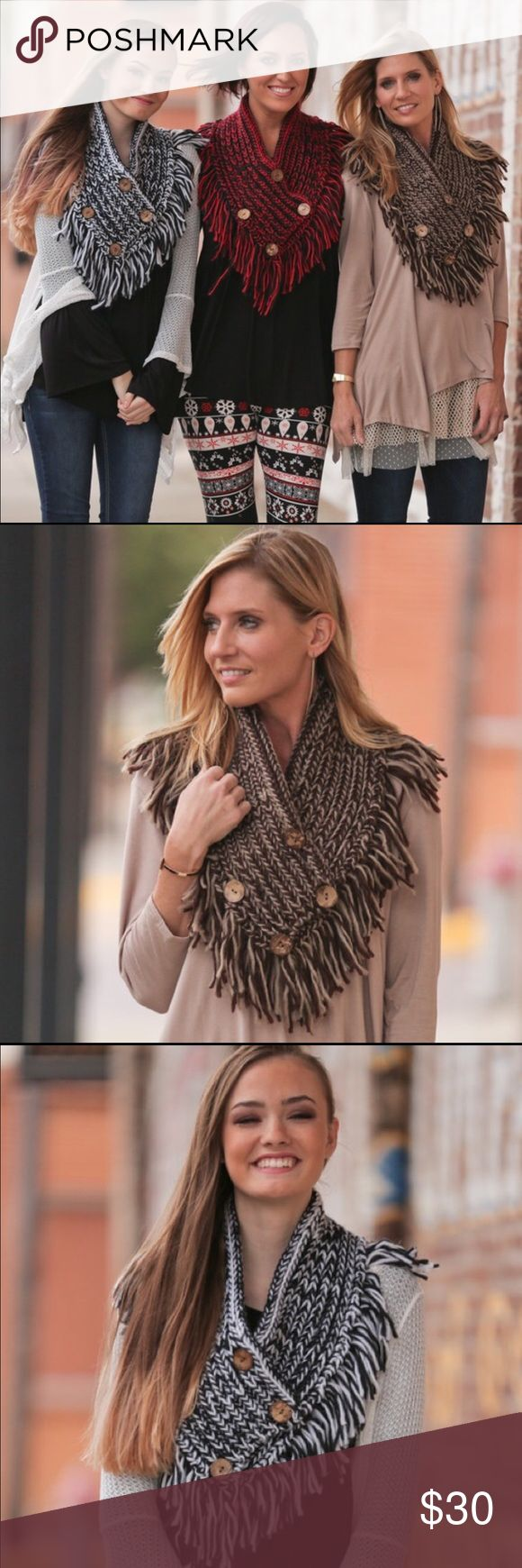 Coming Soon Cotton Button Shawl Cotton button shawn a must have accessory for fall and winter. Get yours before they sell out. Colors available are black and white, red and black, and mocha and tan. Select your color in the size selection when you purchase. If you are interested click like and I will tag you when they come in. Infinity Raine Accessories Scarves & Wraps