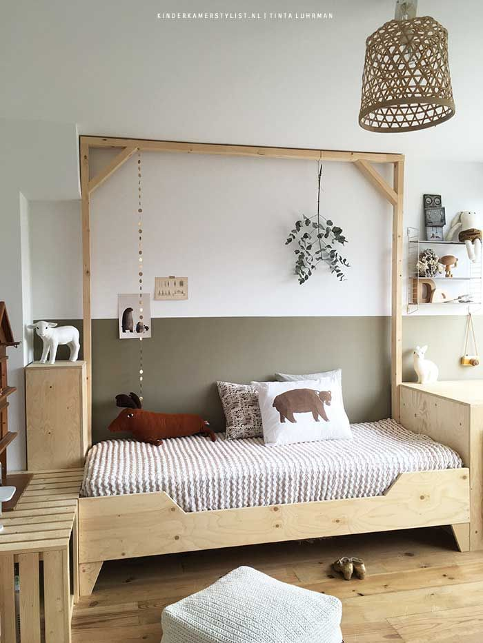 beautiful and cozy room in natural colors lots of wood and muted colors create a calm atmosphere