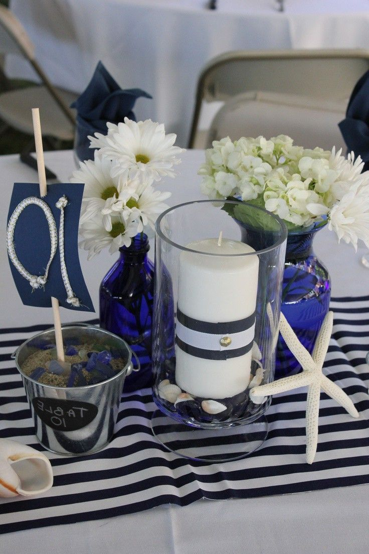 Image Result For Navy And White Centerpieces Nautical Wedding Centerpieces Nautical Centerpiece White Centerpiece