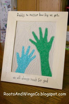 """Reaching for Dad"" handprint art for Father's Day."