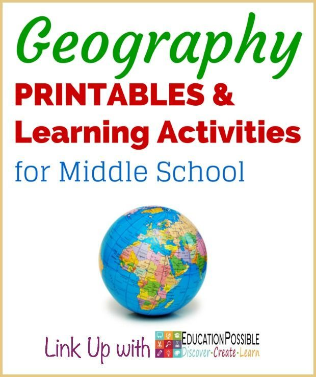 Geography Printables & Learning Activities for Middle School - @Education Possible  Don't miss this amazing collection! Find resources to use at home/school and add your own favorite Geography Printables & Learning Activities for Middle School.